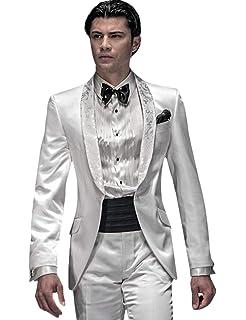 QZI Mens Tailcoat Shawl Lapel 2 Piece Single Buckle Slim Fit Jacket and Pants