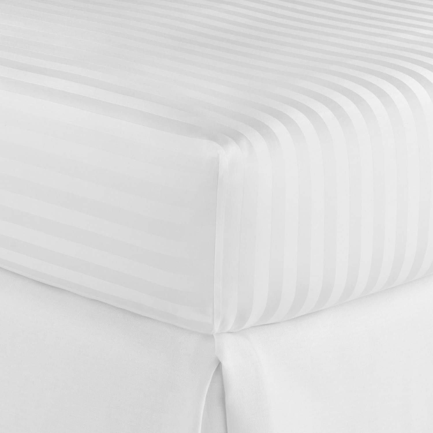 400 Thread Count 100 Percent Cotton Fitted Sheet Queen 15 Inch Deep Pocket Long Staple Cotton 1 Fitted Sheet Only White Stripe Sateen Weave Soft Breathable Elastic All Arount The Matress by Lukeville Luxury Linen