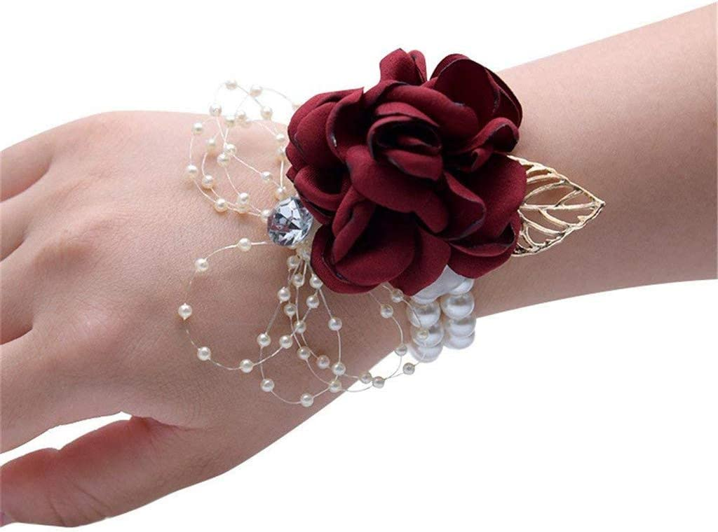 Flonding Girl Bridesmaid Wrist Corsage Bridal Silk Wrist Flower with Faux Pearl Bead Stretch Bracelet Wristband Gold Leaf for Wedding Prom Hand Flowers Decor (Wine Red, Pack of 4)