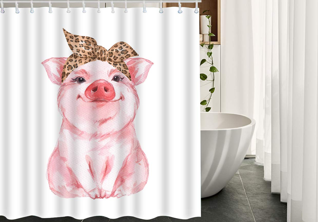 Moslion Pig Shower Curtain Set Farm Animal Funny Cute Piggy Wearing Leopard Bandana Curtains Home Decorative Waterproof Polyester Fabric Hooks 72x72