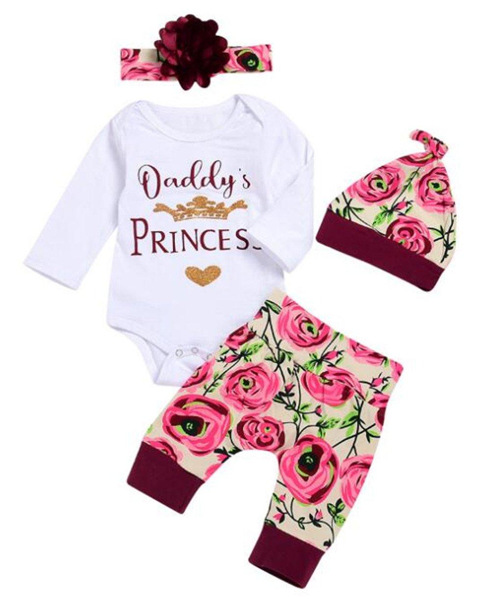 Baby Girls 4Pcs Daddy's Princess Gold Crown Print Romper Floral Pants Set Size 12-18 Months/Tag90 (White)