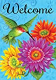 Hummingbird Gerberas - Welcome - Standard Size 28 x 40inch Decorative Flag - Copyright, Trademark, and Licensed by Custom Decor Inc. - Printed in the USA