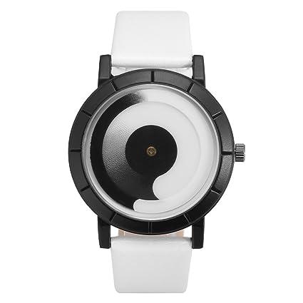 Reloj Único Dial Swirl Puntero Reloj de Pulsera de Cuarzo Caja de Aleación Redonda Elegante 4