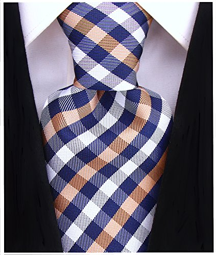 Gingham Plaid Ties for Men - Woven Necktie - Navy Blue and Beige