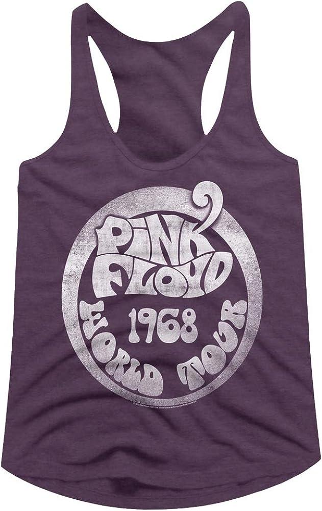 American Classics Pink Floyd 1968 World Tour Aubergine Heather Ladies Racerback Tank Top Tee