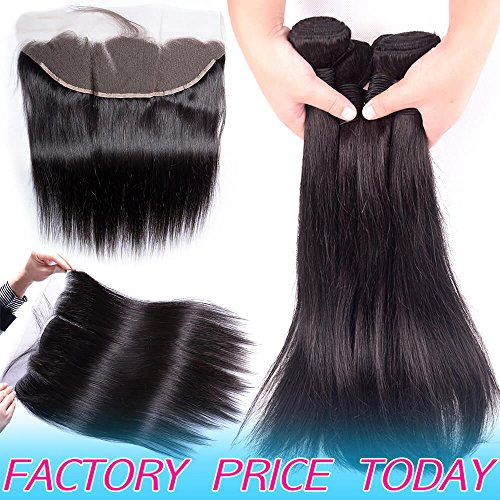 Brazilian Straight Human Hair Weft 3 Bundles Best 8A Peruvian Virgin Hair Weave With 13x4 Frontal Closure Pre Plucked With Baby Hair Cheap Indian 4x13 Ear to Ear Swiss Lace Frontals 12 14 16 And 10IN -