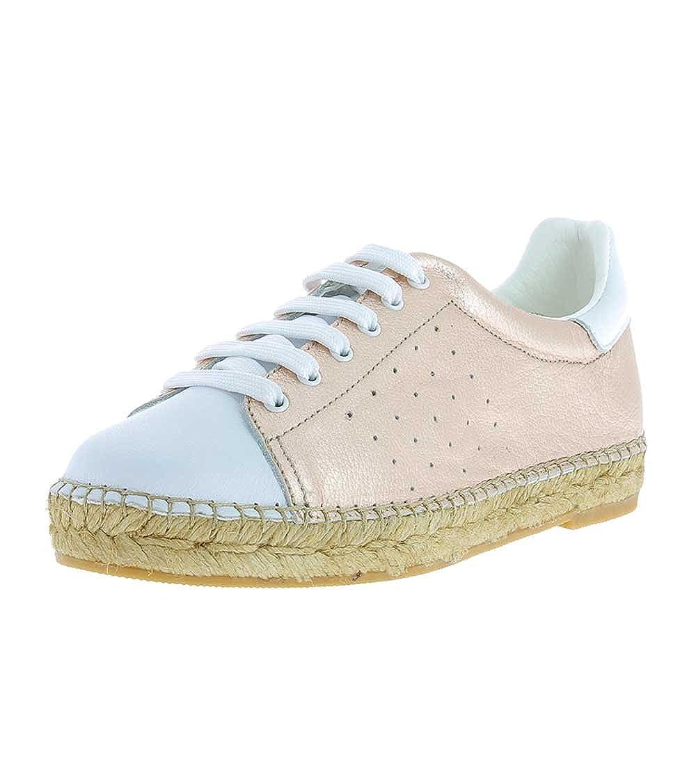 White   pink gold Andrew Stevens Terra Italian White Leather Fashion Flat Sneakers for Women
