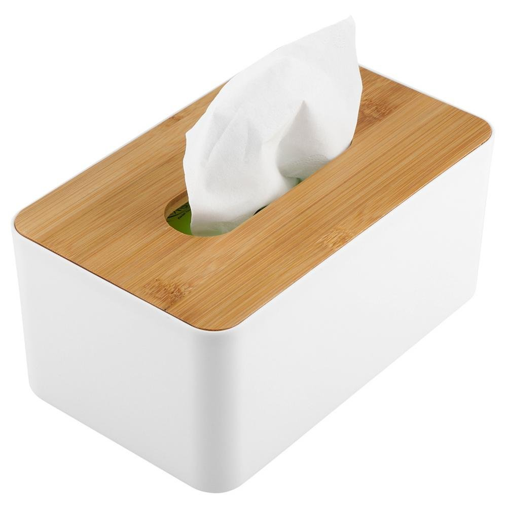 Yosooo Bamboo Tissue Box Modern Look Rectangular Paper Holder Boxes for Bathroom Dining Table Bedroom Storage Organizer(Rectangle) by Yosooo