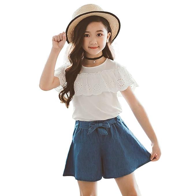 f76d0cdb7d0c 3rd Brthday Outfit Girl 3T 2pcs White Tshirt Blouse +Blue Shorts Skirts Set  Kids
