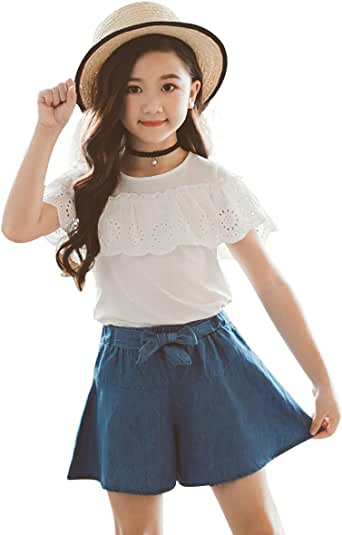 little dragon pig Kids Girl Outfits White Tshirt+Bowknot Denim Shorts Skirt Toddler Summer Clothes