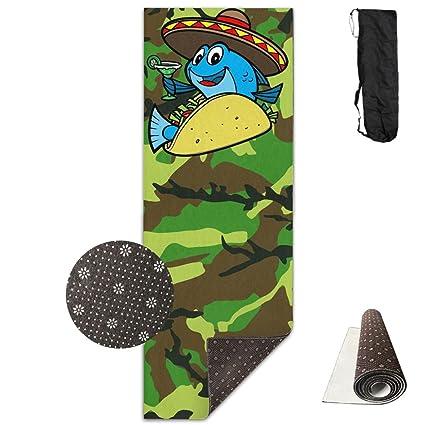 Amazon.com : Cartoon Fisch Tacos Cocktail Yoga Mat Towel For ...