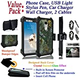 Value Pack + for 5'' LG Phoenix 3 LG K4 2017 case Crystal Holster Clip Phone Case 360° Cover Screen Protector Kick stand Shock Bumper (Camo)