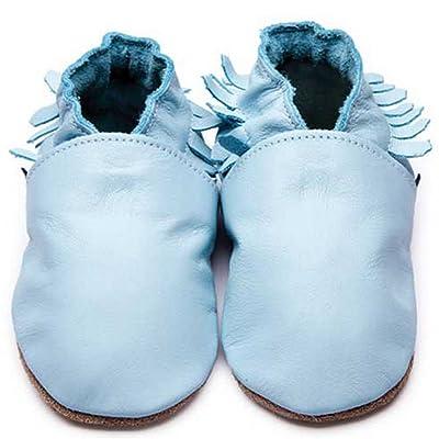 """Bleu Filles Garçons de luxe en cuir souple Semelle Chaussures–Mocassin Landau pour bébé Bleu"