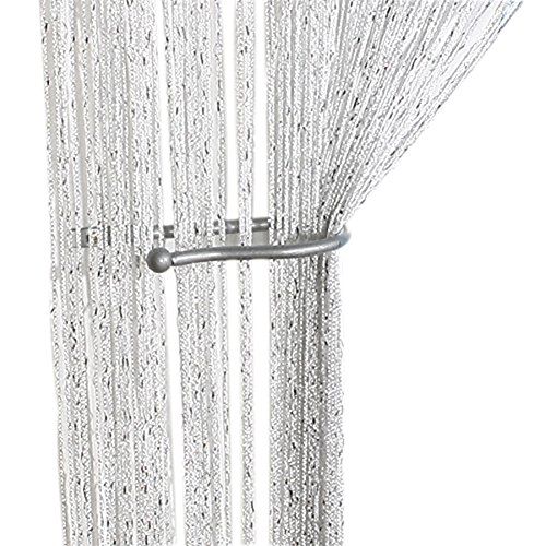 ZideTang Encryption Glitter Flat String Door Curtain Divider Tassel Panel Color White (Panel Door Flat White)