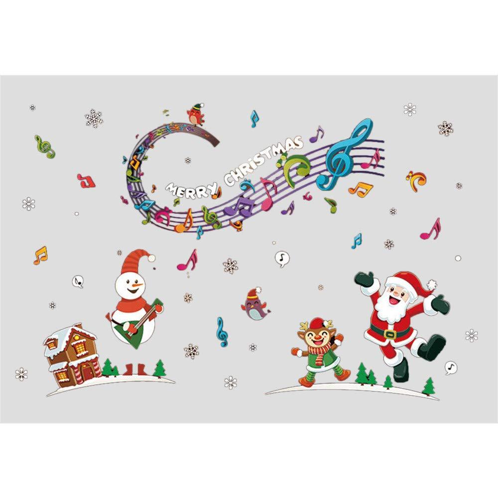 XINDEEK Merry Christmas Wall Sticker Snowflake Elk for Home Shop Windows Decals Decor(B)
