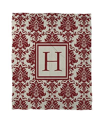 Thumbprintz Coral Fleece Throw, 60 by 80-Inch, Monogrammed Letter H, Crimson Damask