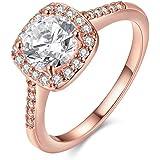 Yuren Eternal Love Women's 18K Rose/White Gold Plated CZ Diamond Engagement Rings Best Promise Rings Anniversary Wedding Band