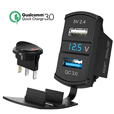 QC 3.0 Rocker USB Charger Socket 12V/24V Dual USB Car Power Outlet Green LED Voltmeter Waterproof Marine Cigarette Lighter Adapter Quick Charge 3.0 Rocker Switch Panel on Boat UTV ATV RV