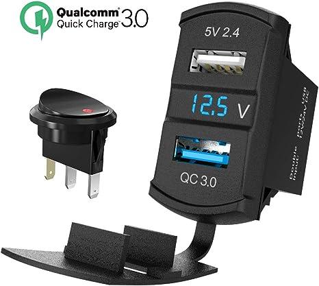 QC 3.0 USB Auto Steckdose KFZ Ladeger/ät Buchse 12V Wasserdicht Einbausteckdose Zigarettenanz/ünder Adapter mit LED Voltmeter Batterie Anzeige 36W Quick Charge 3.0 f/ür Wippschalter auf Boot ATV RV