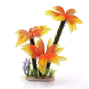 JUZIPI Decoración para Acuario (3 Coco, árboles y Plantas Naranjas, Decoración para Peces