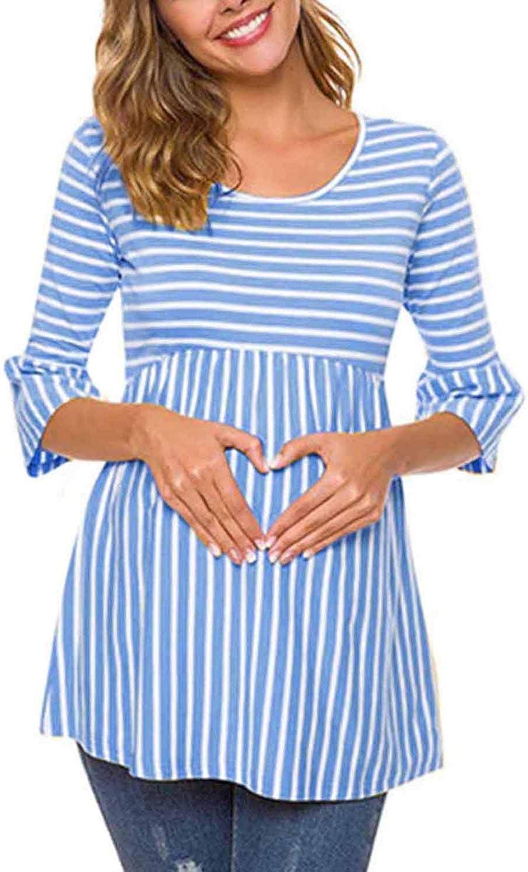 Mujer Entrega Maternidad Enfermería Top Rayas Peplum 3/4 ...