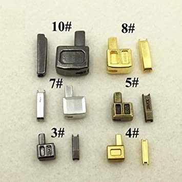 10 Pcs 3#  Metal Zipper Pull Gold Repair with Lock Kits Slider Head Clothing DIY
