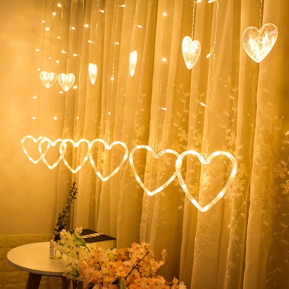 H+K+L LED Heart-Shaped Hanging Curtain Waterproof Lights, String Net Lights for Indoors and Outdoors, Chrismas, Halloween, Patio, Garden (C)