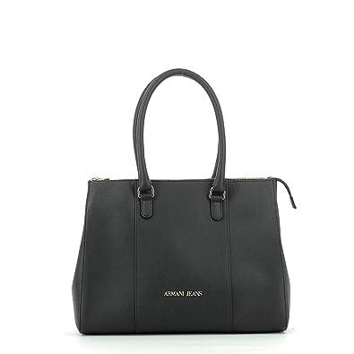4b160554e455 Women s Armani Jeans shopping bag model in eco leather black saffron.  Double hand handle longer