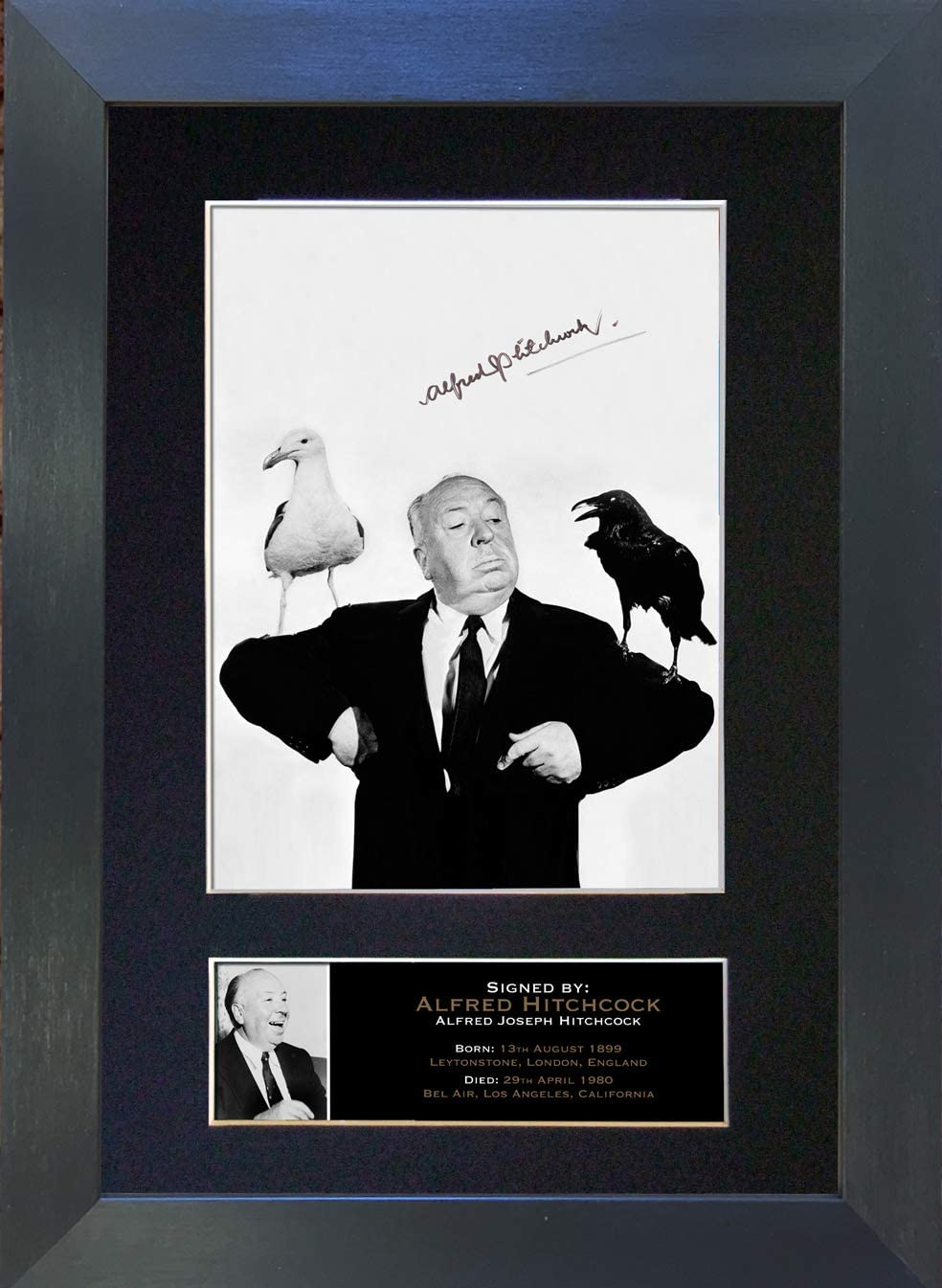 12 x 8 inches Cadre Argent 297 x 210 mm The Autograph Collector Alfred Hitchcock Photo Photo d/édicac/ée A4 Rare Perfect Birthday #174