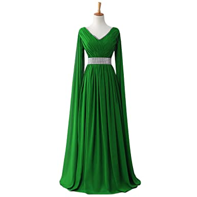 JoJoBridal Womens Beaded Chiffon Ruched Long Formal Evening Dresses With Cape Green Size 2