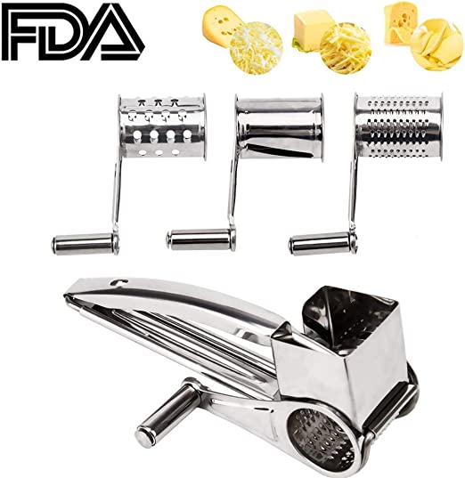 Rotary Cheese Grater Stainless Steel Cylinder Grater Ultra Sharp Cylinders Drums /& Slicer for Cheese Vegetable