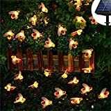 KORADA Solar String Lights Bumble Bee 30 Led Outdoor Solar Power Honey Bee Fairy Lights BBQ Lights Waterproof Garden Patio Fence Gazebo Summer Night Lights Decorations Warm White