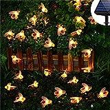 KORADA Solar String Lights Bumble Bee 30 Led Outdoor Solar Power Honey Bee Fairy Lights BBQ Lights Waterproof Garden Patio Fence Gazebo Summer Night Lights Decorations Warm White