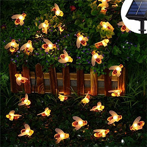 KORADA Solar String Lights Bumble Bee 30 Led Outdoor Solar Power Honey Bee Fairy Lights BBQ Lights Waterproof Garden Patio Fence Gazebo Summer Night Lights Decorations Warm White by KORADA