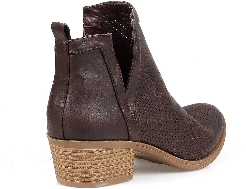 MarkandMaddux Womens Stacked Block Low Heel Ankle Booties/…