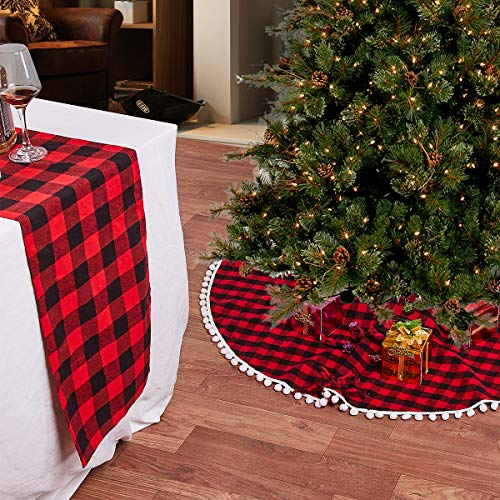LBG Christmas 48'' Red and Black Buffalo Plaid Tree Skirt, 14x72 inch Cotton Table Runner .Countryside Decorations for Christmas Holiday,New Year Party (2, Kit)