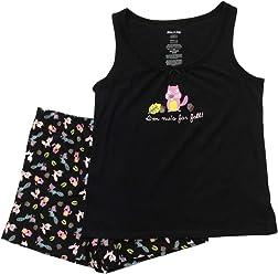 d1fee16bb246b2 Womens Nuts for Fall Tank Top Pajamas Forrest Animal Shorts Sleep Set