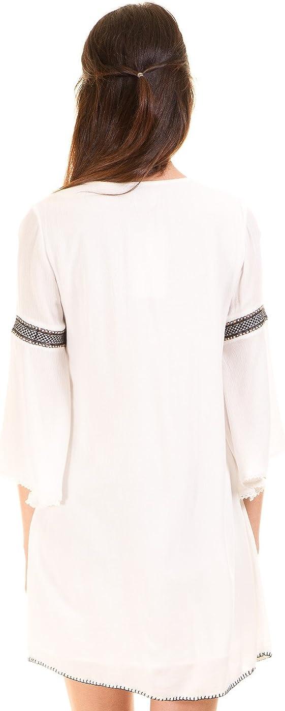 Vila Vestido Blanco ibicenco túnica Clothes (L - Blanco): Amazon.es: Ropa y accesorios