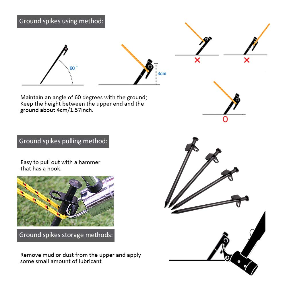 KAVENO Black Tent Stakes Unbreakable and Inflexible for Outdoors Trip Camping Canopy Mountain-Climbing Heavy Duty High Strength Steel 12 Inch - 8 Pack 4 Pack // 8 Pack // 10 Pack 4 Pack // 8 Pack // 10 Pack