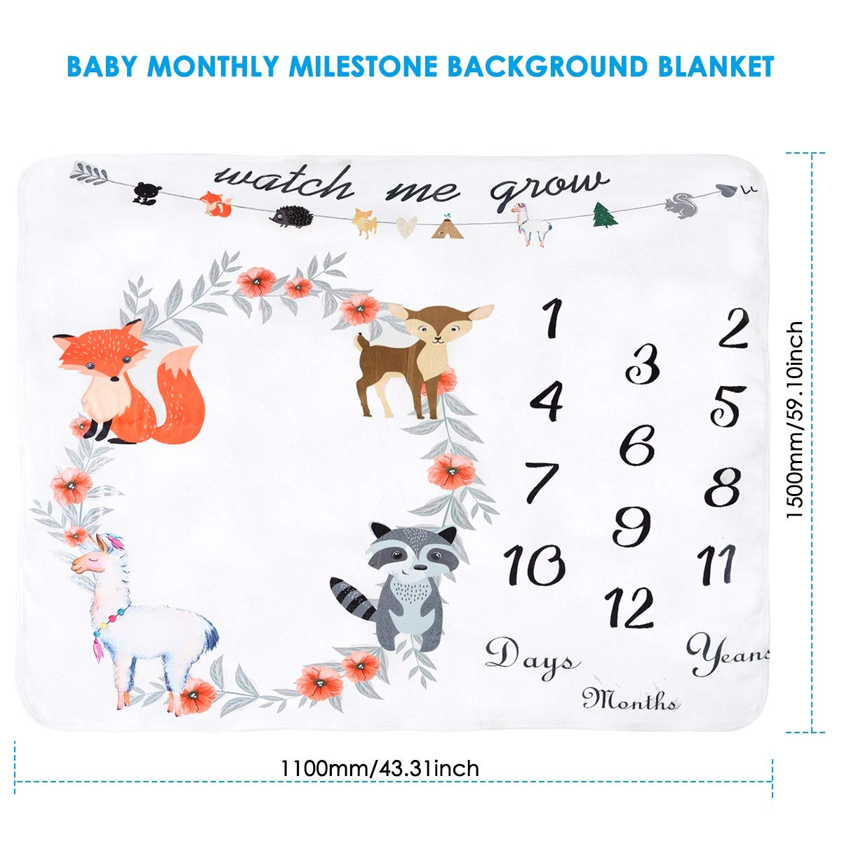 Baby Monthly Milestone Blanket Extra Large Photography Background Blanket Thick Velvet Backdrop Prop Swaddle for Single /& Twins Color : Colorful Flower