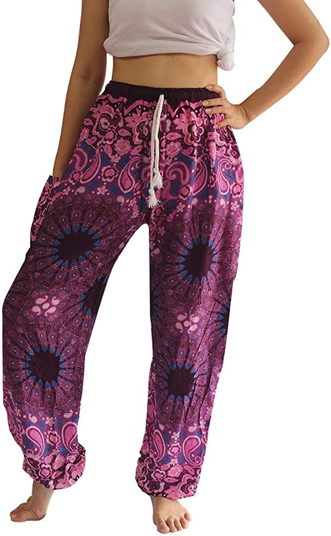Amazon.com: Harem Thai Pantalones para hombre y mujer Boho ...