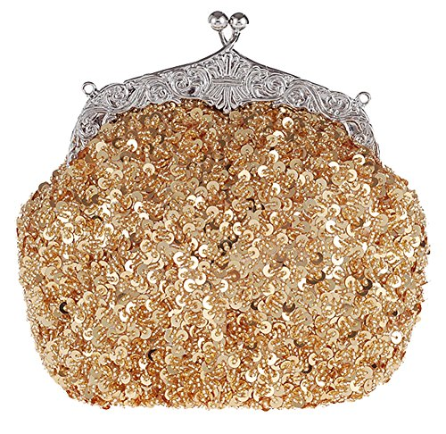 ilishop Women's Fully Sequined Mesh Beaded Antique Style Wedding Evening Formal Cocktail Clutch Purse (Gold) by ilishop
