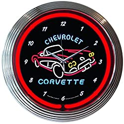 Corvette GM C1 Genuine Electric Neon 15 Inch Wall Clock Glass Face Chrome Finish USA Warranty