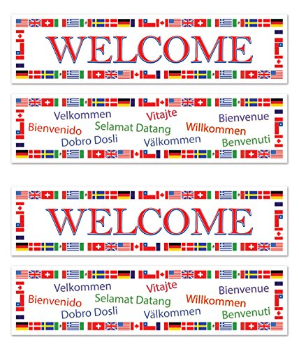 Beistle S57899AZ2, 4 Piece International Welcome Banners, 15'' x 5'