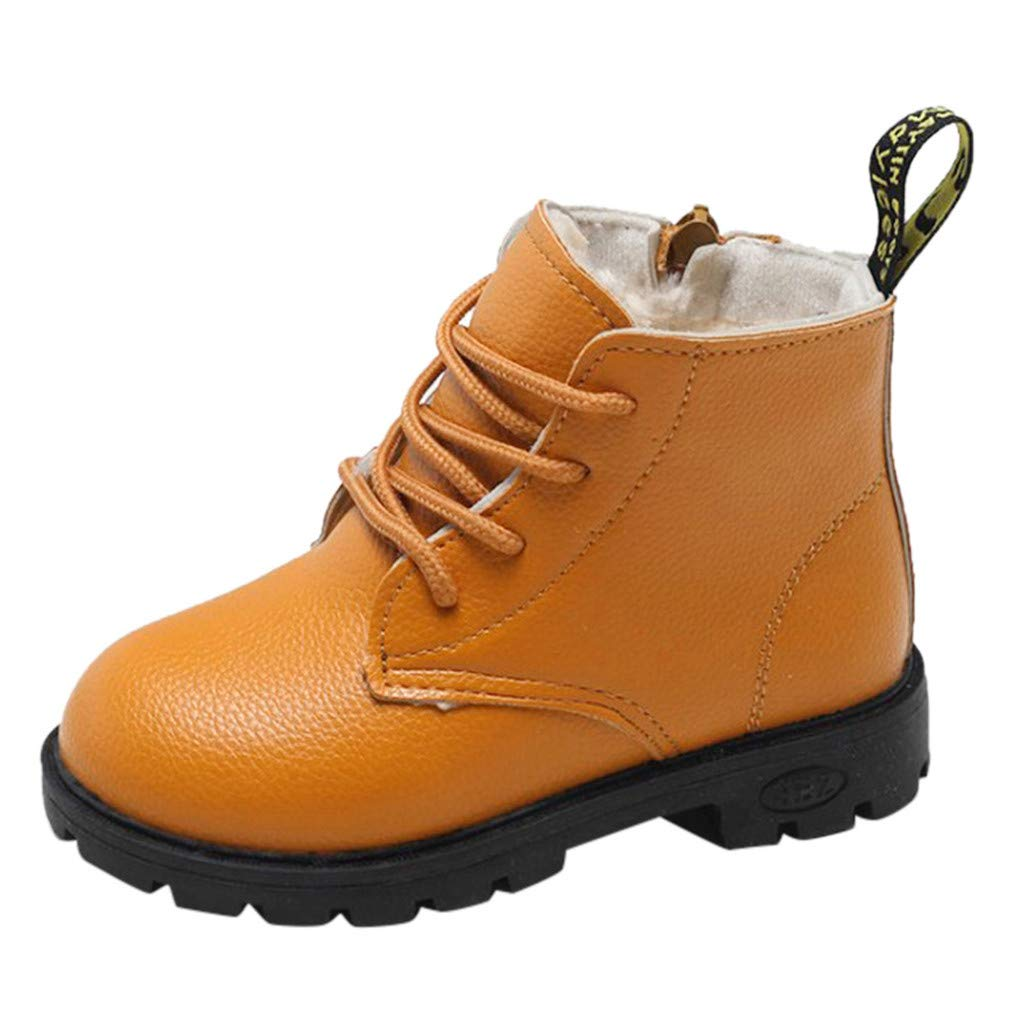 OCEAN-STORE Baby Children Warm Boys Girls 4-12 Years Solid Lace Up Sneaker Boots Snow Baby Casual Shoes