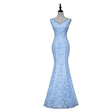 TANGFUTI Womens Beaded V Neck Mermaid Formal Evening Dresses Lace Prom Dresses Long 100BL-US2