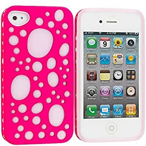 Accessory Planet(TM) Pink Hybrid Bubbles Hard/Soft TPU 2-Piece Case Cover Accessory for Apple iPhone 4 / 4S