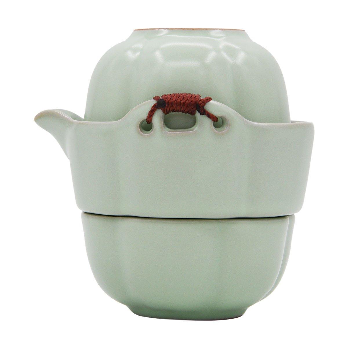 Vegali Double Ears Handmade Chinese Traditional Manual Kungfu/Gongfu Tea Set (Green-010)
