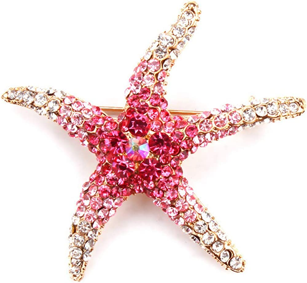 MUZHE Colorful Rhinestone Zircon Pentagram Starfish Brooch Pin Women Girls Party Gifts