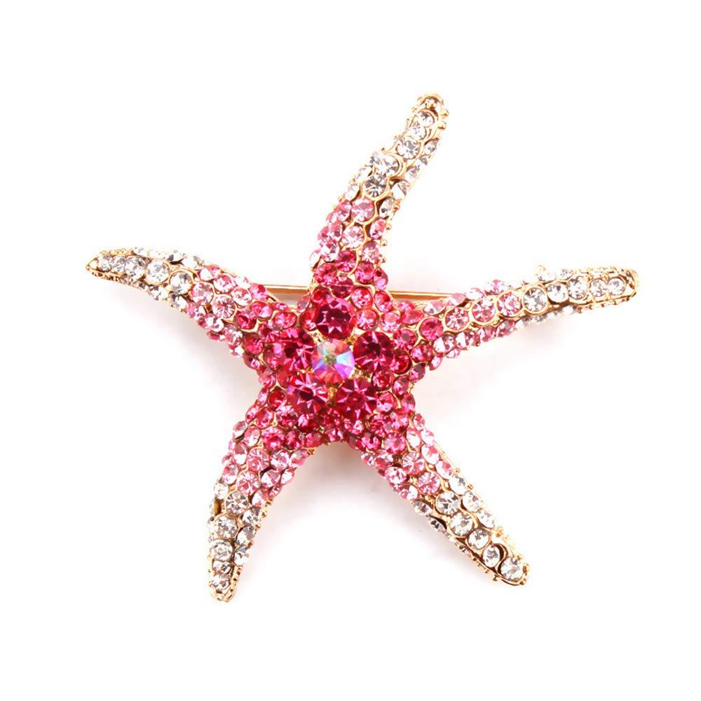 MUZHE Colorful Rhinestone Zircon Pentagram Starfish Brooch Pin Women Girls Party Gifts (Red)